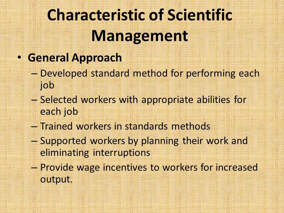 Characteristic of Scientific Management