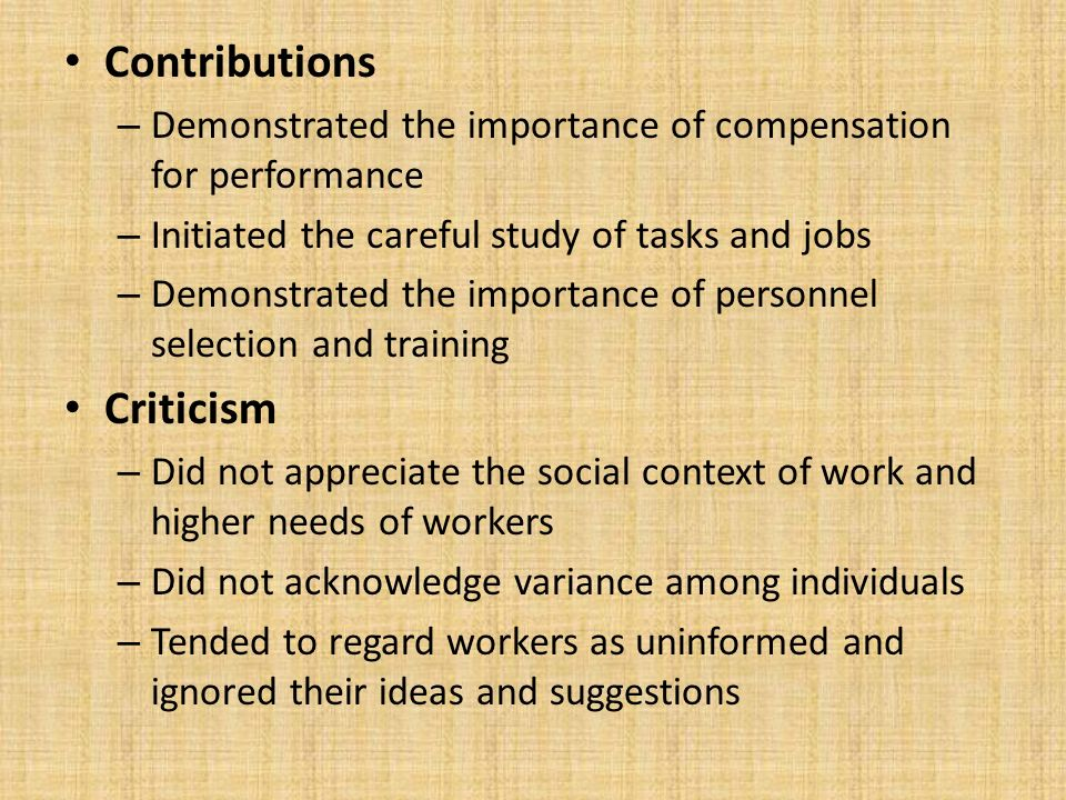 Contributions Criticism
