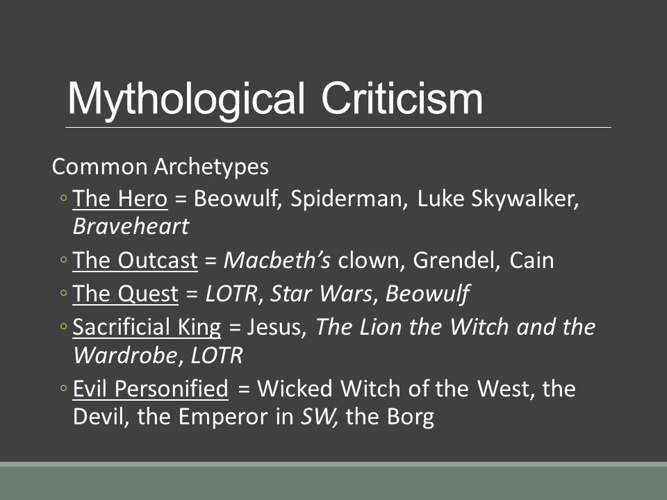 the mythological archetypal approach reading of andrew Archetypal literary criticism argues that archetypes determine the form and function of literary works, and therefore, that a text's meaning is shaped by cultural and psychological myths archetypes are the unknowable basic forms personified or concretized in recurring images, symbols, or patterns which may include motifs such as the quest or.