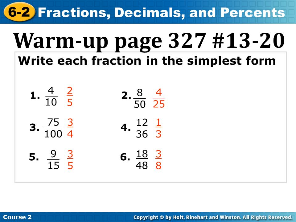 Fractions, Decimals, and Percents - ppt video online download