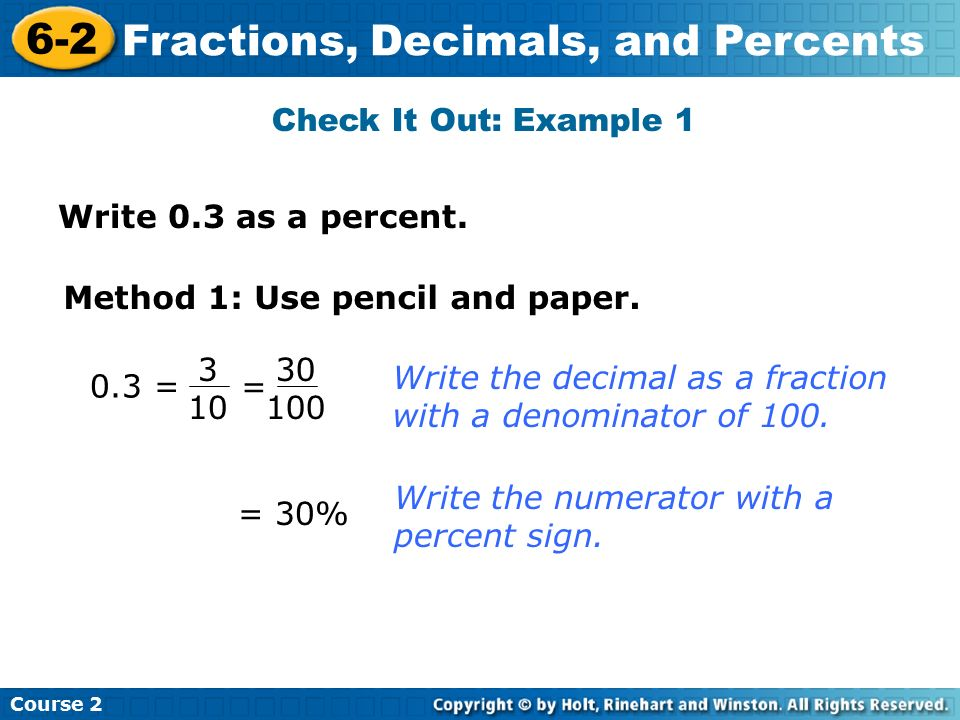 writing decimals as percents Convert decimal to percent using an online calculator multiply decimal number by 100 to change decimal to percent example conversions from decimals to percentages.