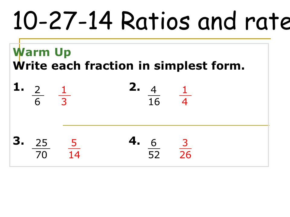 Ratios and rates Warm Up - ppt video online download