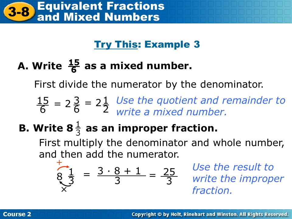 write as a mixed number This step-by-step online calculator will help you understand how to convert improper fractions to mixed numbers  probably have some question write me email on.