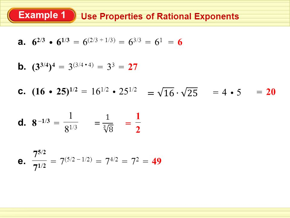 7.2 Properties of Rational Exponents - ppt video online download