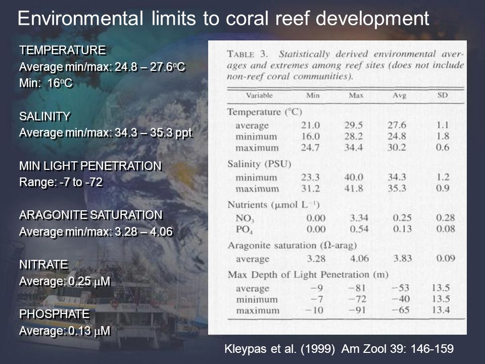 Environmental limits to coral reef development