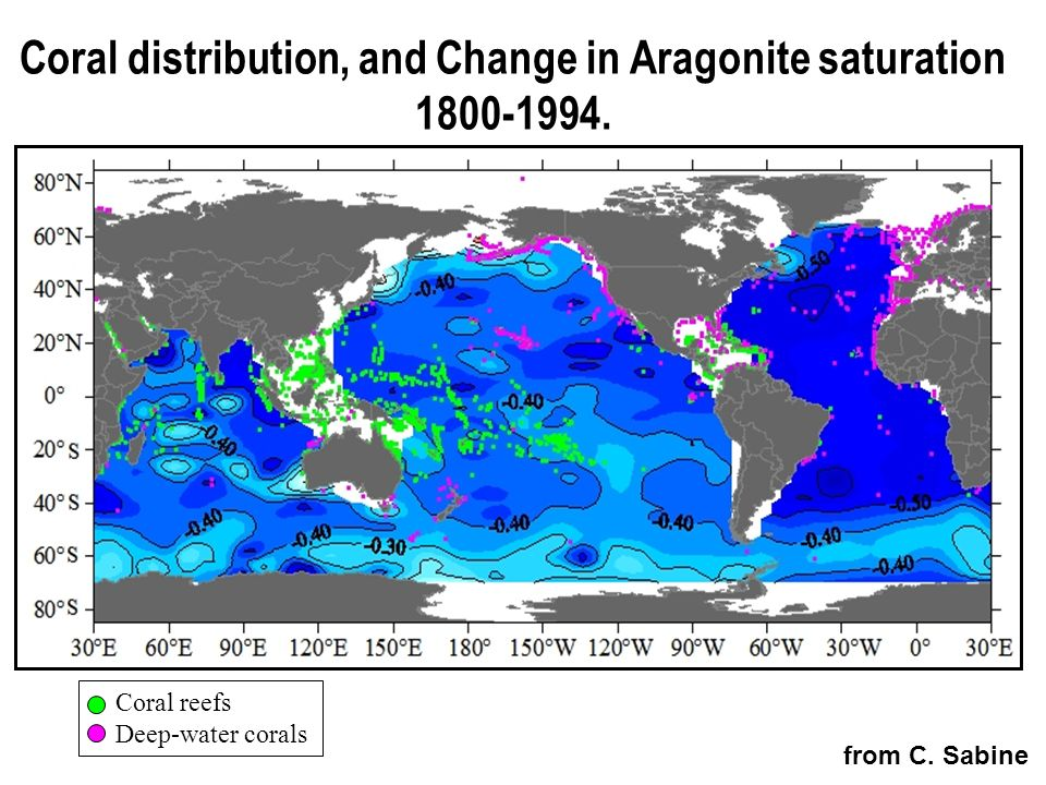 Coral distribution, and Change in Aragonite saturation 1800-1994.