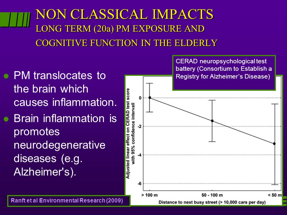 NON CLASSICAL IMPACTS LONG TERM (20a) PM EXPOSURE AND COGNITIVE FUNCTION IN THE ELDERLY