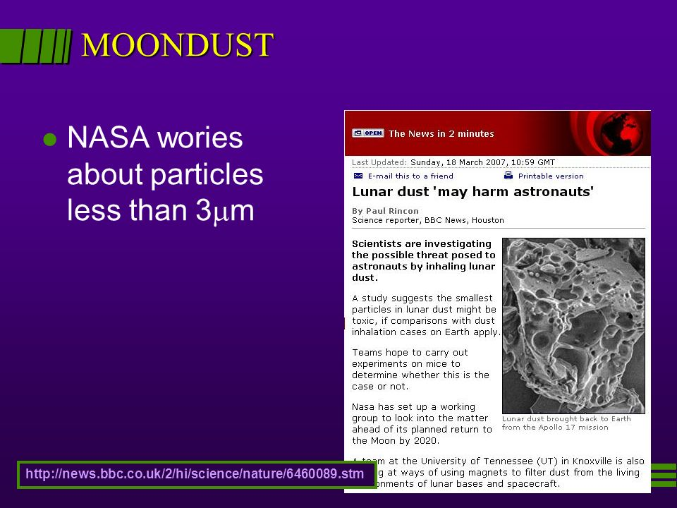 MOONDUST NASA wories about particles less than 3m