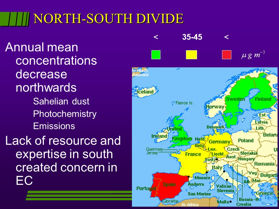 NORTH-SOUTH DIVIDE Annual mean concentrations decrease northwards