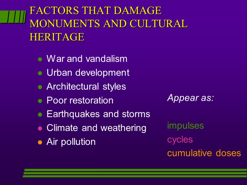 FACTORS THAT DAMAGE MONUMENTS AND CULTURAL HERITAGE