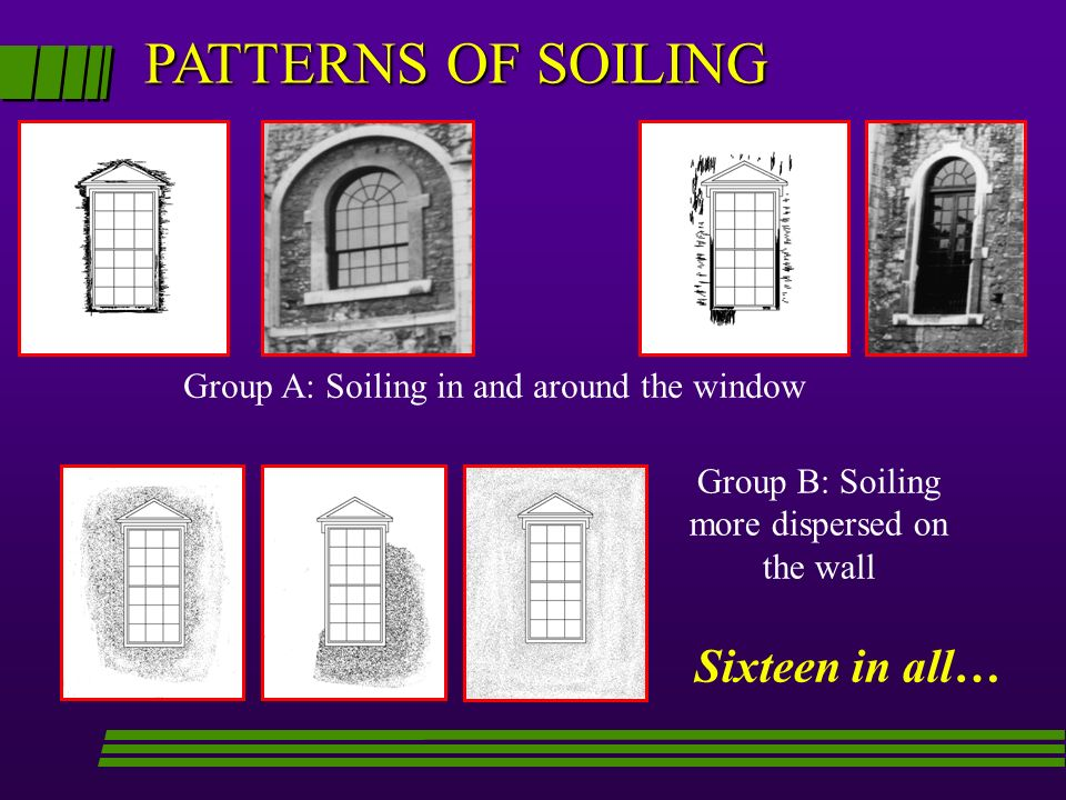 PATTERNS OF SOILING Sixteen in all…