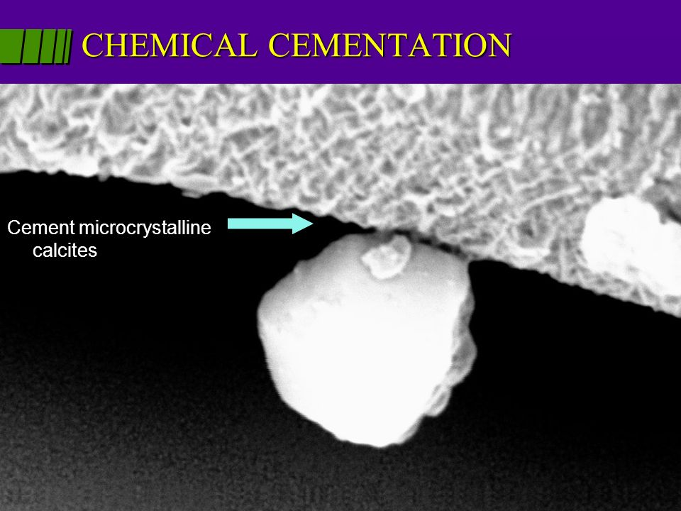 CHEMICAL CEMENTATION Cement microcrystalline calcites.