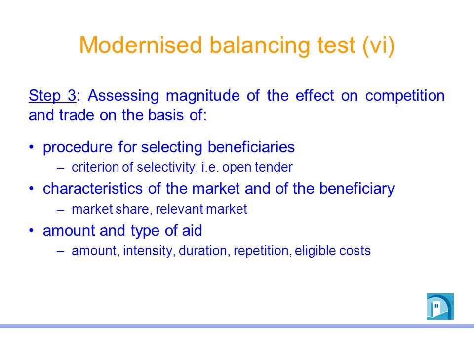 Modernised balancing test (vi)