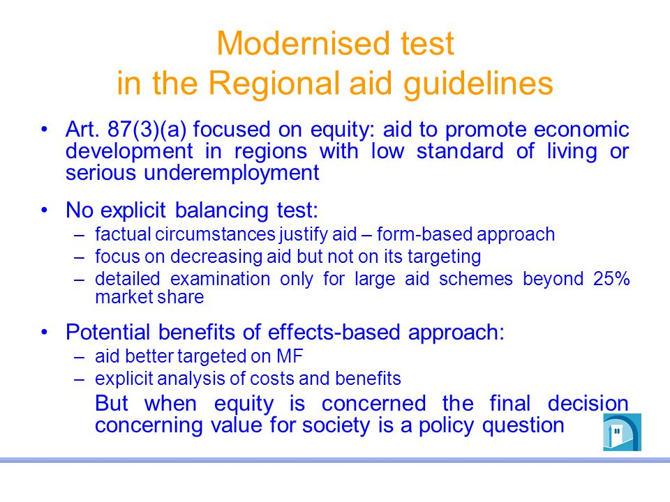 Modernised test in the Regional aid guidelines