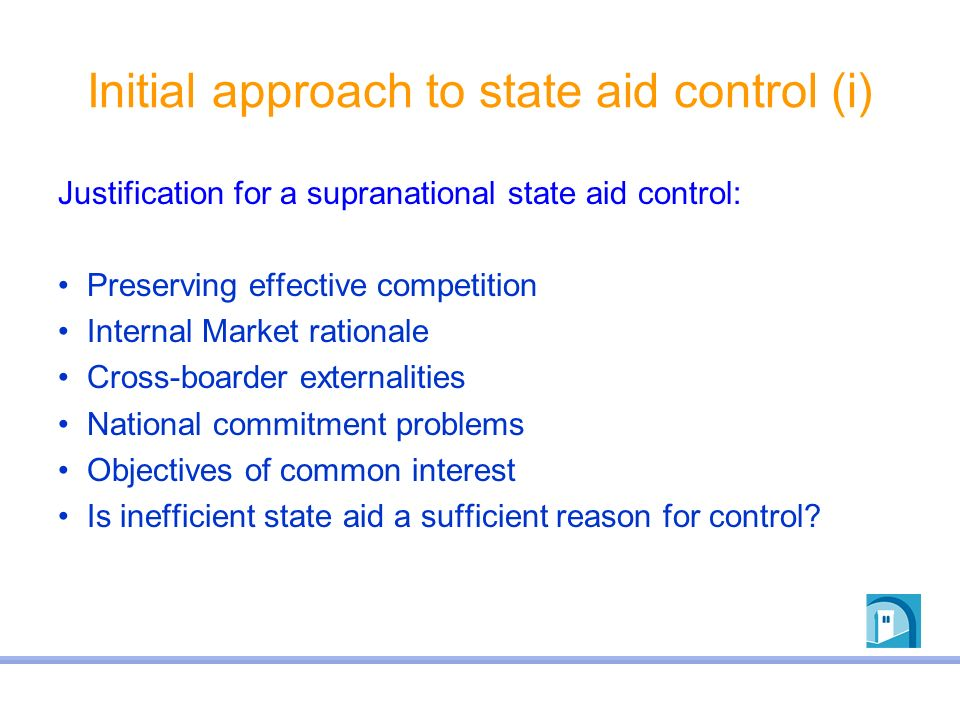 Initial approach to state aid control (i)