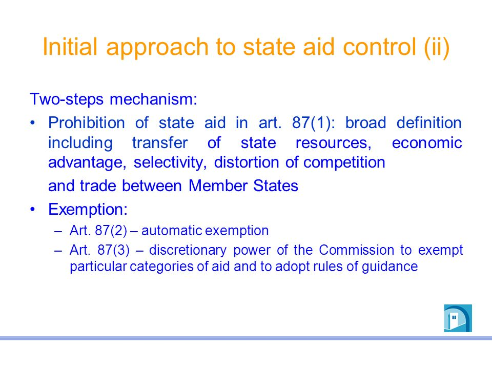 Initial approach to state aid control (ii)