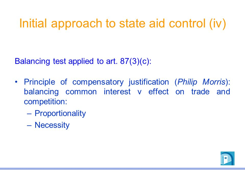 Initial approach to state aid control (iv)