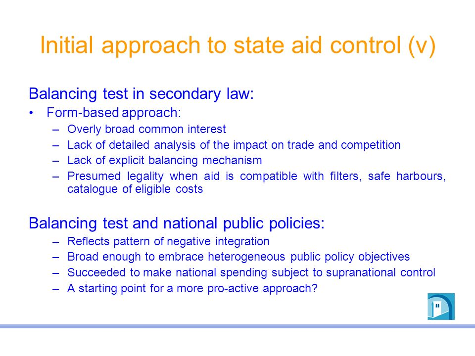 Initial approach to state aid control (v)
