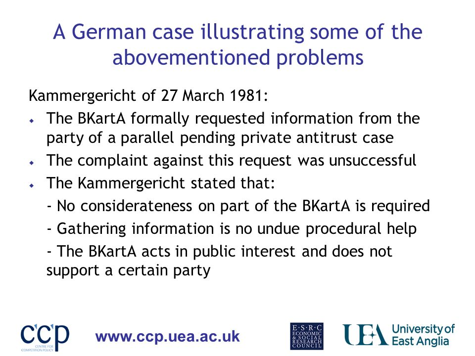 A German case illustrating some of the abovementioned problems