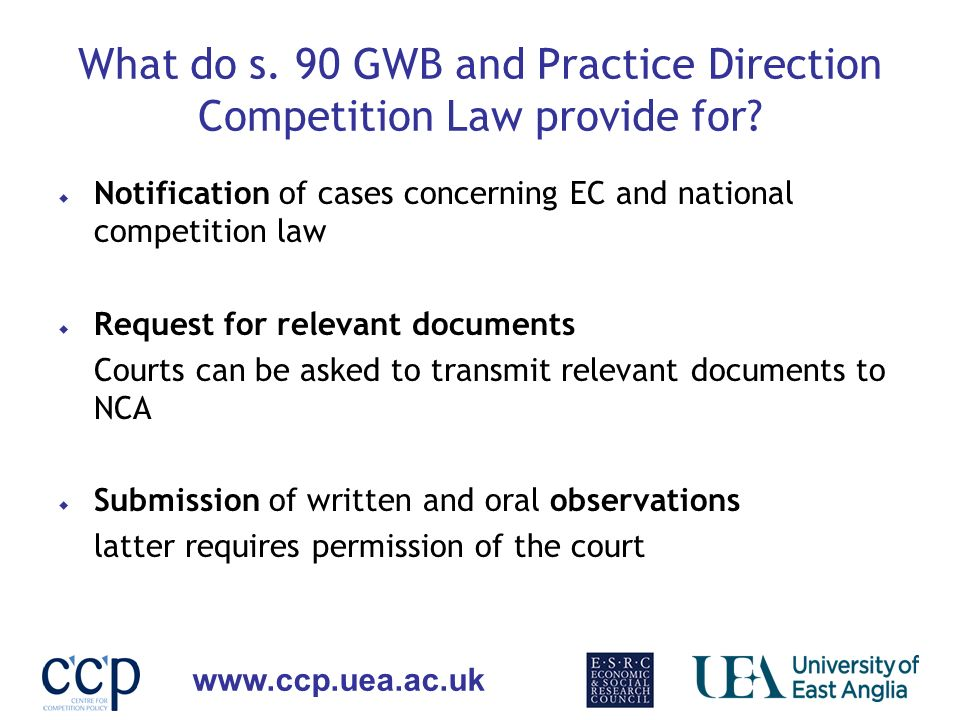 What do s. 90 GWB and Practice Direction Competition Law provide for