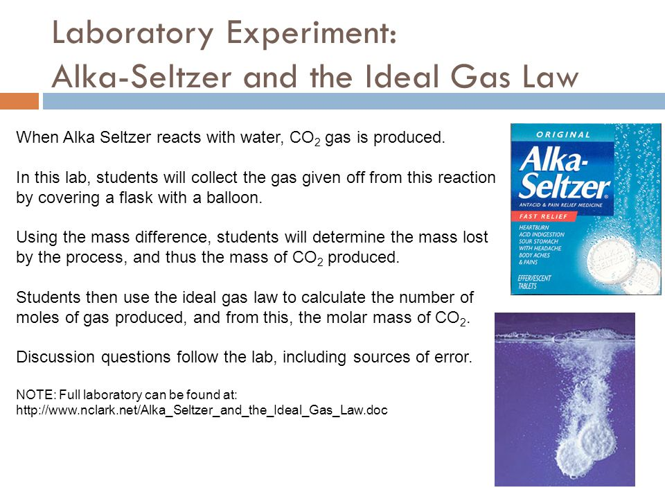 lab how the ideal gas law Lab 8: ideal gas law the ideal gas law is very valuable when dealing with gases since it establishes a rela onship between temperature, pressure, volume.