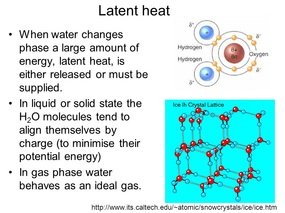 Latent heat When water changes phase a large amount of energy, latent heat, is either released or must be supplied.