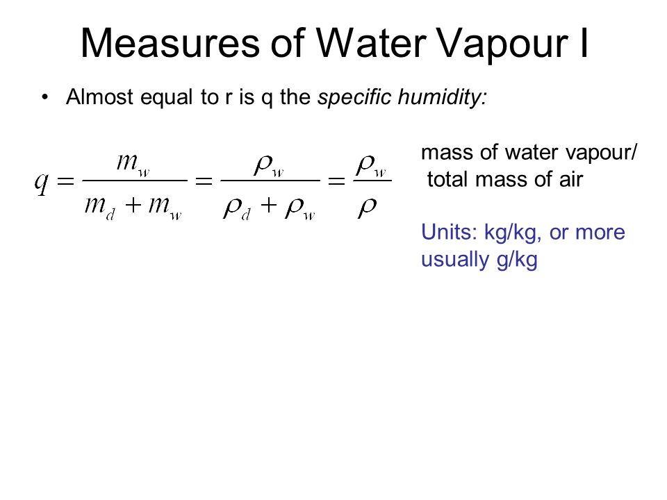 Measures of Water Vapour I