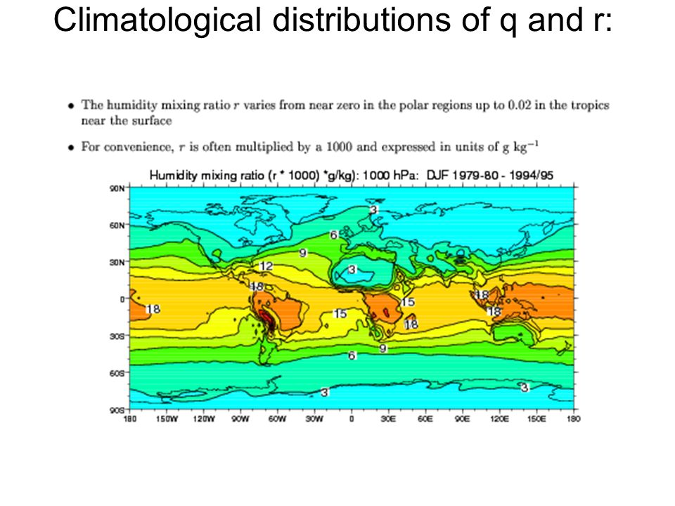 Climatological distributions of q and r: