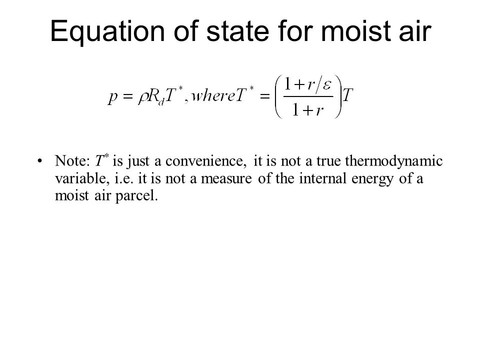Equation of state for moist air