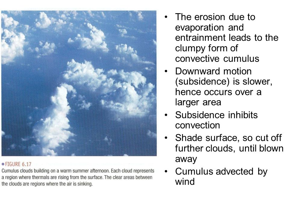 The erosion due to evaporation and entrainment leads to the clumpy form of convective cumulus