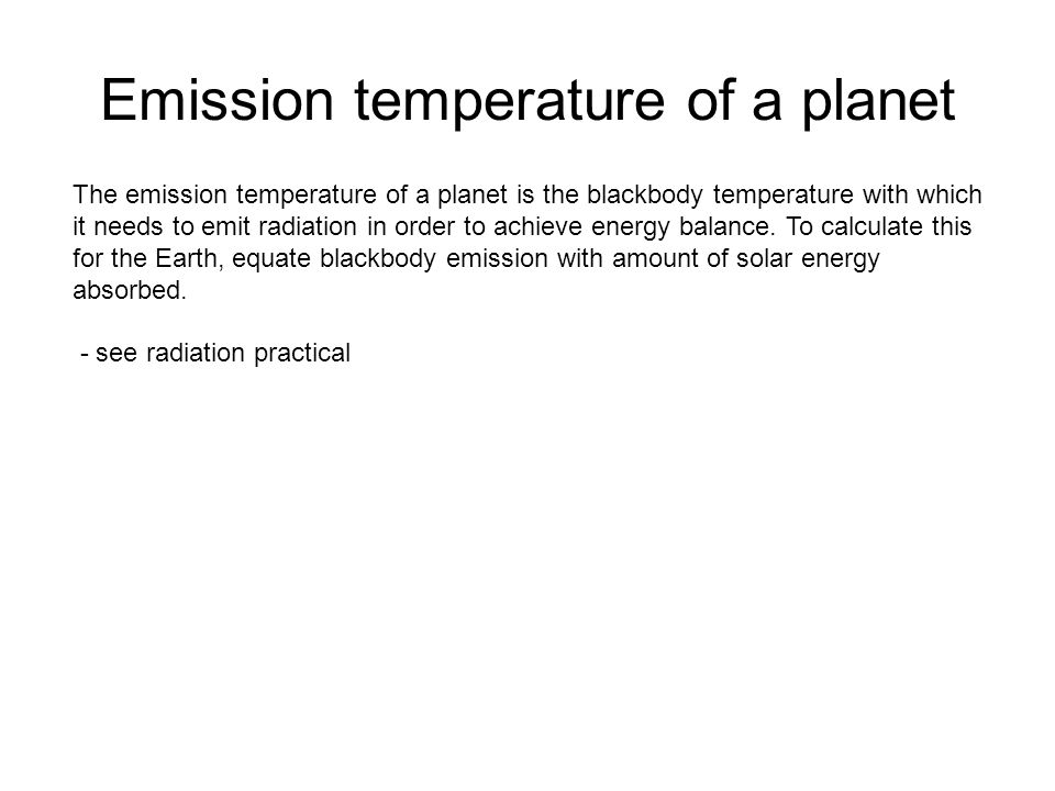 Emission temperature of a planet