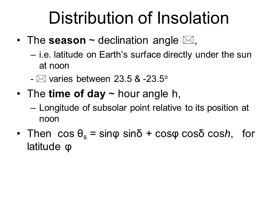 Distribution of Insolation