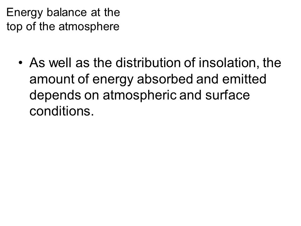 Energy balance at the top of the atmosphere