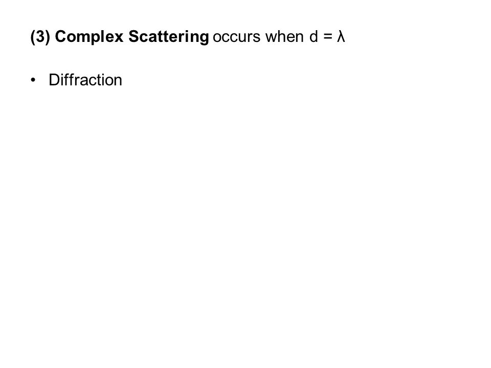 (3) Complex Scattering occurs when d = λ
