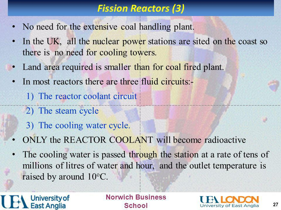 Fission Reactors (3) No need for the extensive coal handling plant.