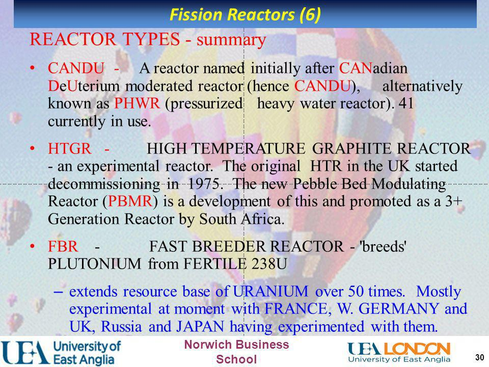 REACTOR TYPES - summary