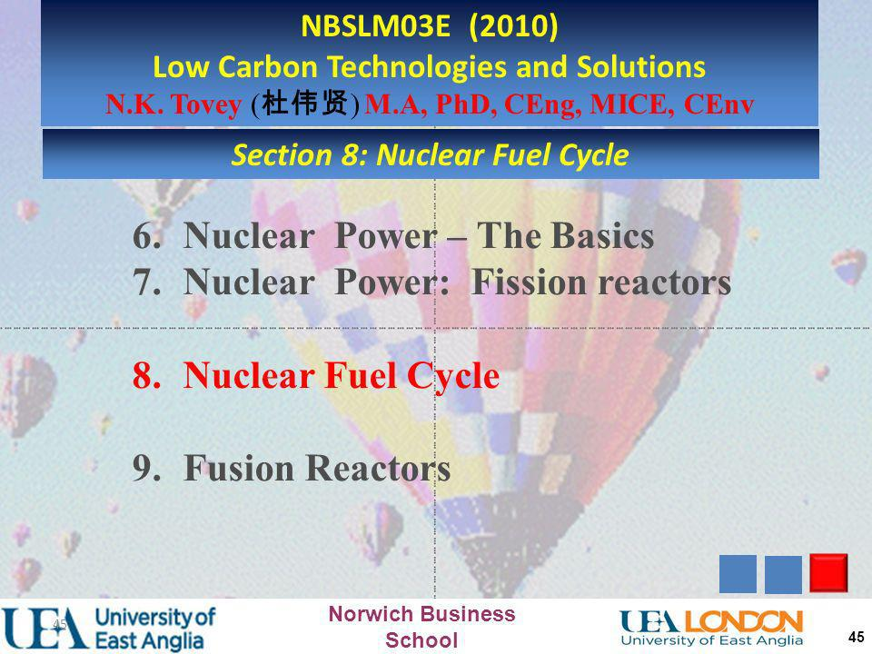 Low Carbon Technologies and Solutions Section 8: Nuclear Fuel Cycle