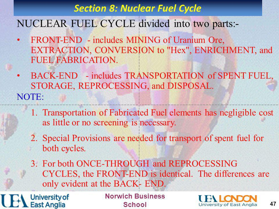 Section 8: Nuclear Fuel Cycle