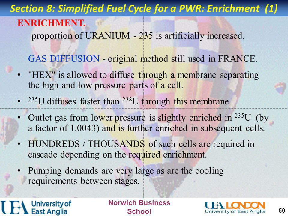 Section 8: Simplified Fuel Cycle for a PWR: Enrichment (1)