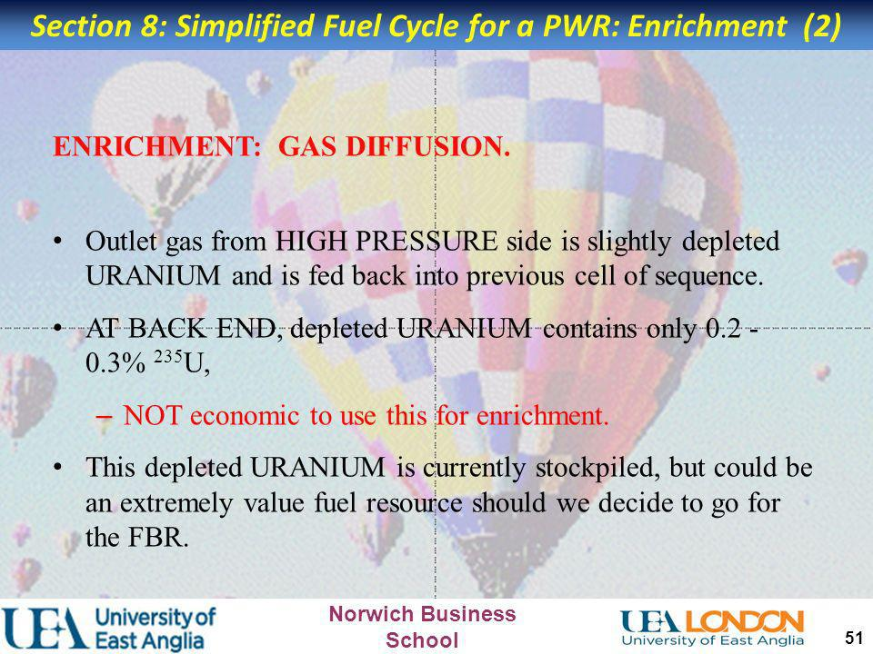 Section 8: Simplified Fuel Cycle for a PWR: Enrichment (2)