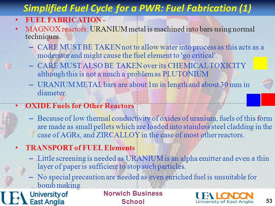 Simplified Fuel Cycle for a PWR: Fuel Fabrication (1)