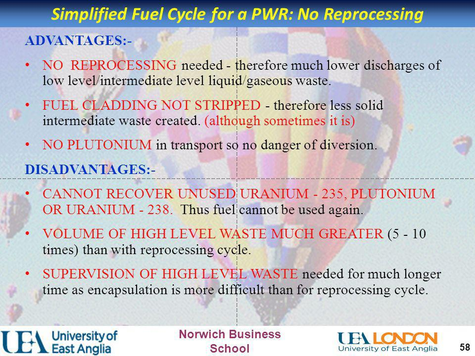 Simplified Fuel Cycle for a PWR: No Reprocessing