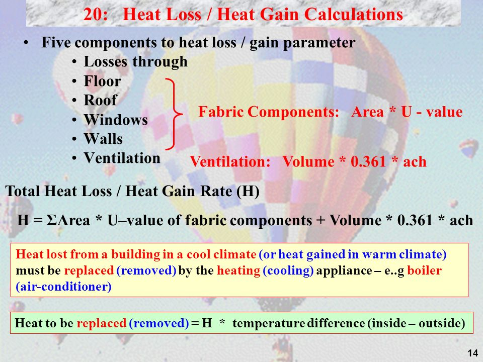 20: Heat Loss / Heat Gain Calculations