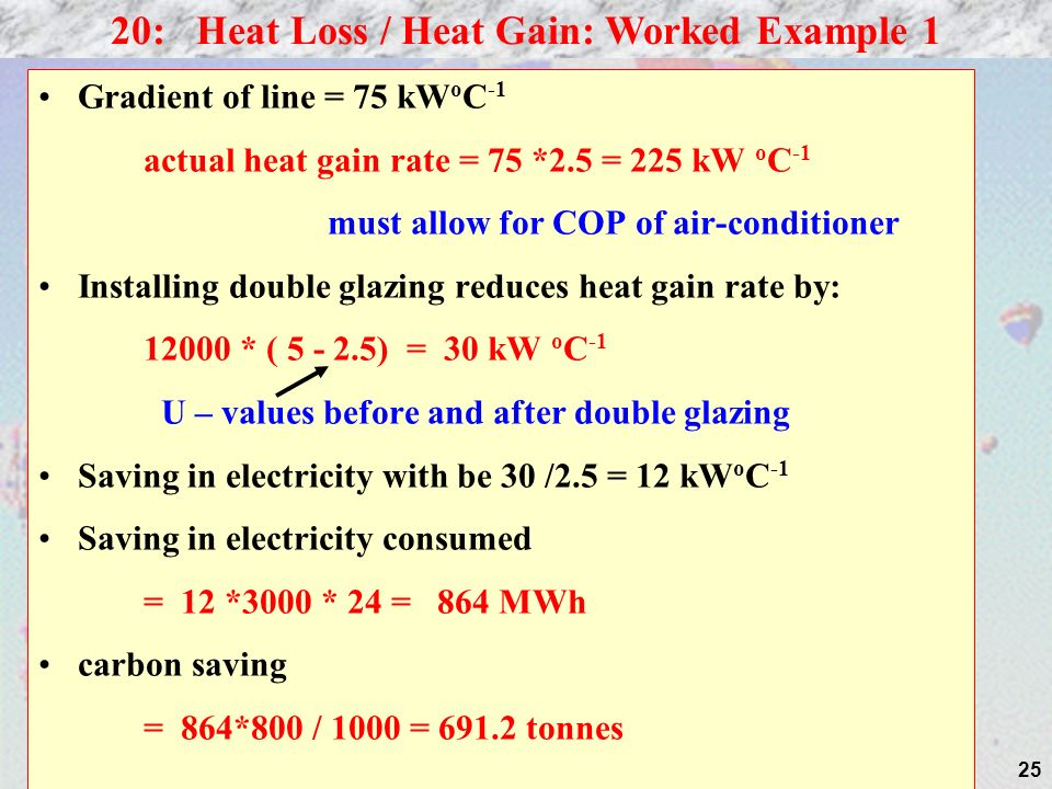 20: Heat Loss / Heat Gain: Worked Example 1