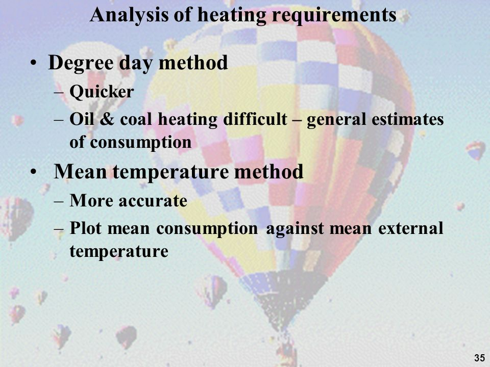 Analysis of heating requirements