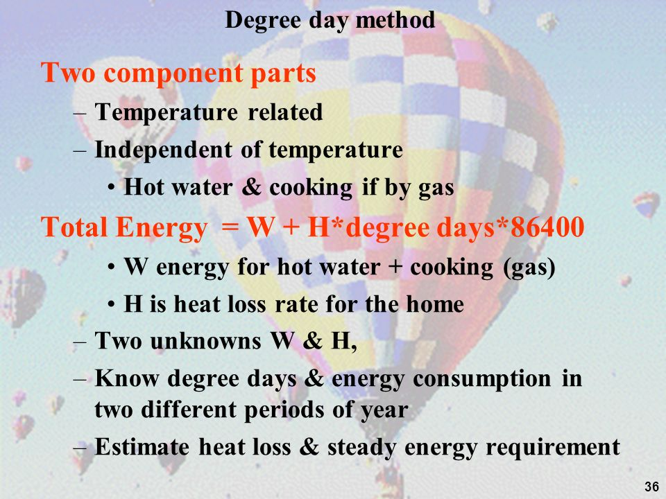 Total Energy = W + H*degree days*86400