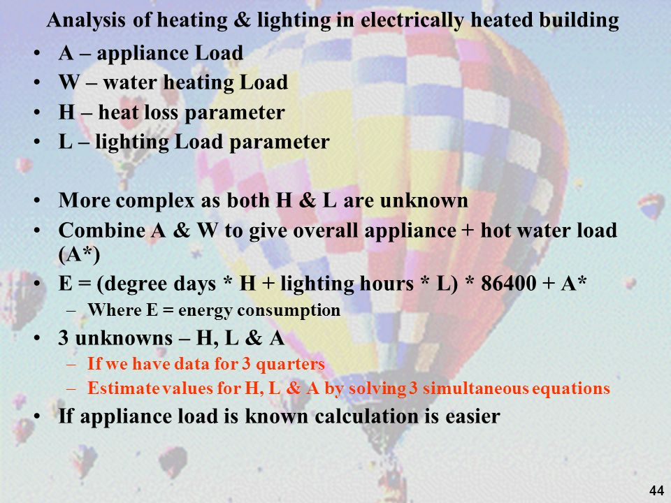 Analysis of heating & lighting in electrically heated building
