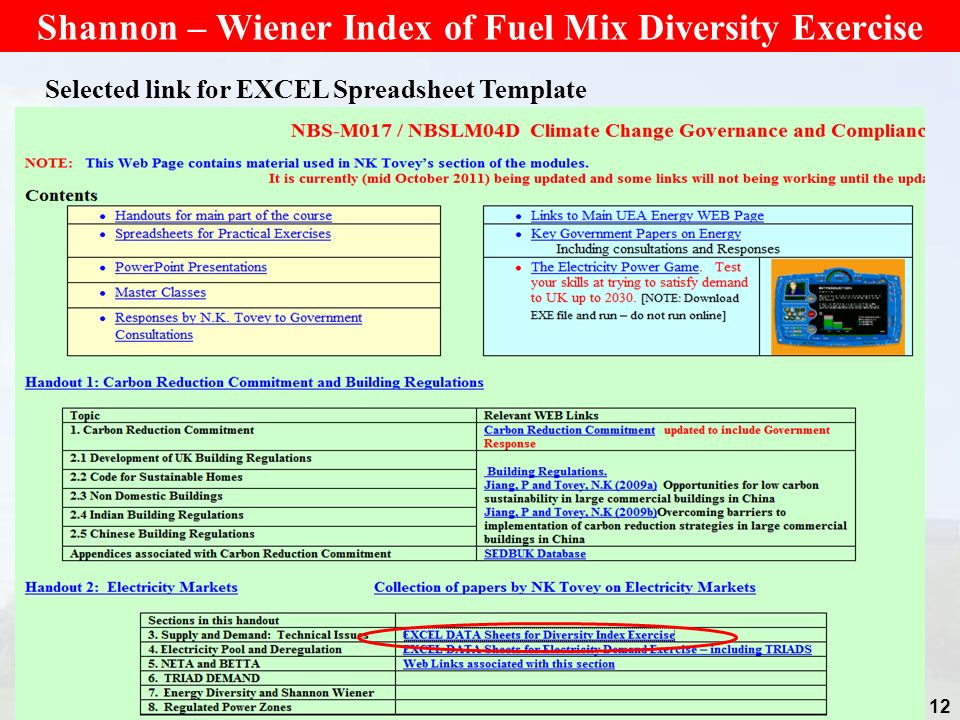 Shannon – Wiener Index of Fuel Mix Diversity Exercise