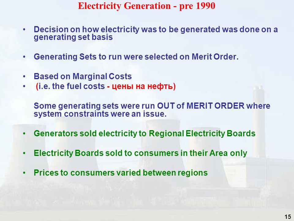 Electricity Generation - pre 1990