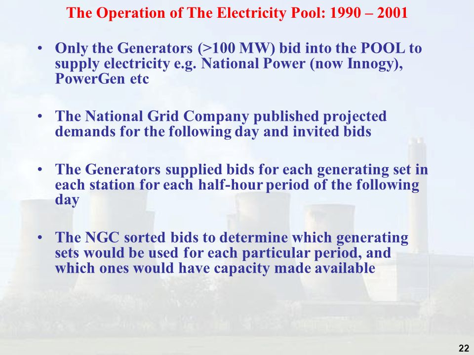The Operation of The Electricity Pool: 1990 – 2001
